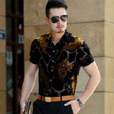 Gold Floral Embroidery Men Lace Shirt 2018 Luxury Brand Mens Dress Shirt Transparent Sexy Male High Quality Shirt Camisa Social