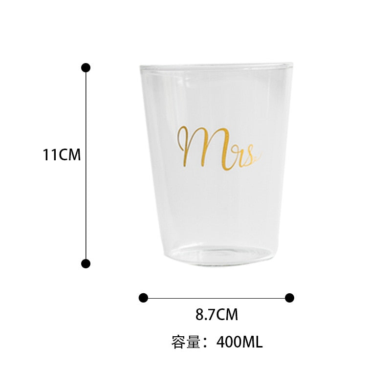 Gold Plating Mr Mrs Transparent Couple Glass Coffee Tea Drinks Dessert Breakfast Milk Morning Cup Kitchenware Glass Mugs 400ml - thefashionique
