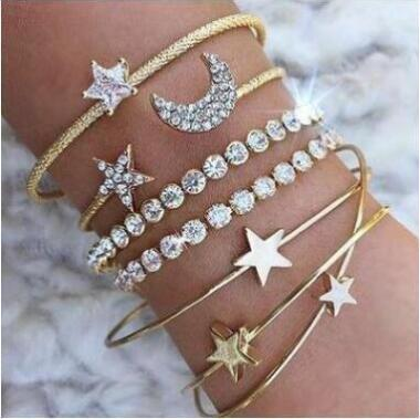 Gold Silver Crystal 4pcs/set Charm Bracelets & Bangles For Women Star Moon Heart Love Bangle Boho Indian Jewelry Pulseras 2018 - thefashionique