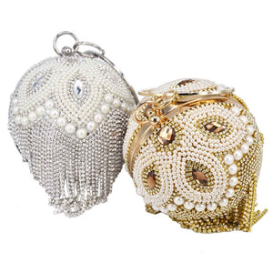 Golden Silver Beaded ball Evening Bags With tassels Women Wedding Bags Party Handbags Crystal Clutch Bags Chain Shoulder bags
