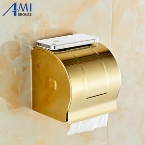 Golden Stainless steel Paper Holder BOX Wall Mounted Bathroom Accessories Sanitary wares 7009G - thefashionique