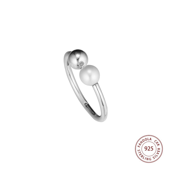 Good Quality 925 Sterling Silver Contemporary Pearl Open Ring Decorate Finger Rings for Women Wedding Original Jewelry Making - thefashionique