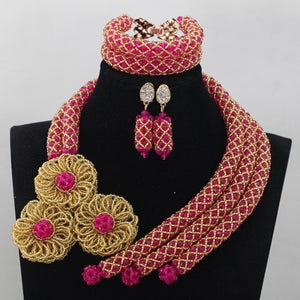 Gorgeous Pink African Beads Jewelry Set Fuchsia Gold Nigerian Wedding Bridal Beads Jewelry Set More Colors Free Shipping WD726 - thefashionique