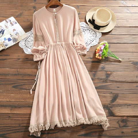 Gorgeous Spring Autumn Women Clothing Round Neck Solid Female Vestidos With Tassel Casual Loose String Cotton Mori Girl Dress
