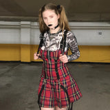 Goth Punk Style Suspender Dresses Women Ribbon Zipper Red Plaid Sleeveless Strap A-Line Girl Lolita Dresses Vestidos Outfit - thefashionique