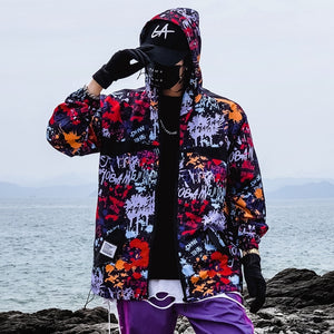 Graffiti Print Jacket Men Hip Hop Windbreakers Hoody Jacket Slim Fit Mens Spring