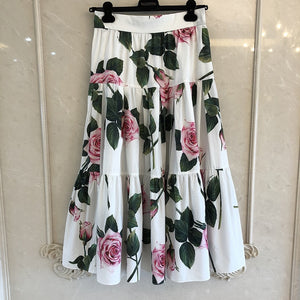 Grand Designer Skirts for Lady Top Quality Luxury Floral Printed Long Mid-Calf Skirts for Lady 2020