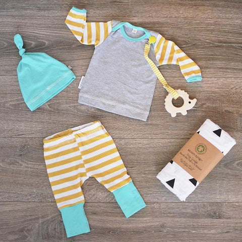 Gray Cotton Newborn Infant Baby Girls Boys Clothes Set Striped T-shirt Tops+Pants Leggings Hat Outfit 3pcs Baby Clothing Sets