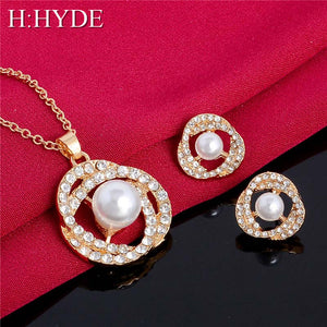 H:HYDE 12 Style Gold Color Bridal Jewelry Sets and More with Pearl Crystal for Women Anniversary Earrings necklace set - thefashionique