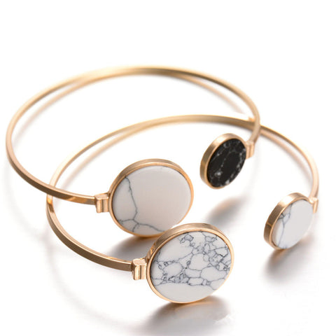 H:HYDE 2017 New Brand White Black Faux Marble Stone Round Geometric Bangle Gold Circle Cuff Bangle Bracelet For Women Bijoux - thefashionique