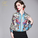 H Han Queen Fashion Casual Womens Tops and Blouses Elegant Long Sleeve Floral Print Shirt Ladies Office Autumn Blusa Feminina - thefashionique