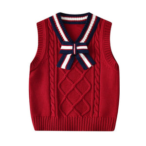Winter Girls Warm Cotton Solid England Style Sweater Vest New Baby Boys Sweaters for Kids Clothes