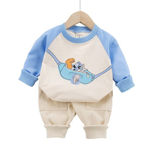 Spring Baby Boys Girls Clothes Kids Cute Cartoon Printed Sweatshirt Pullover Tops+ Pants Children 2pcs Outfit New