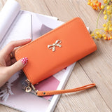 Cards Holder Wallet Ladies Cute Bowknot Women Long Wallet Pure Color Clutch Bag 2020 New PU Leather Purse Phone Card Holder Bag