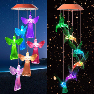 Color Changing Solar Power Wind Chime Light Waterproof Unique Hanging Decor Lamp Garden Angel/bird Light LED Wind Chime 2021