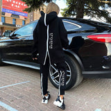 Free Shipping 2021 New Women's Loose Letters Sports Set Casual Zipper Long Sleeve Hooded