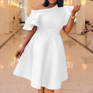 Sexy Party Dress Woman Clothing Elegant White Falbala Short Sleeve Robe African Women Plus Size Dresses Summer
