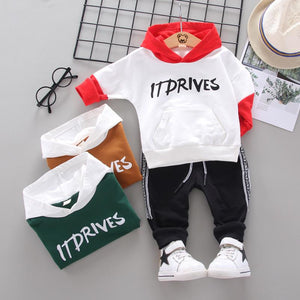 Children fashion Clothing spring autumn Toddler Boy Sports Set Baby Hoodie Letter Top Pants 2pcs Outfit girl Cartoon suit0-5Y