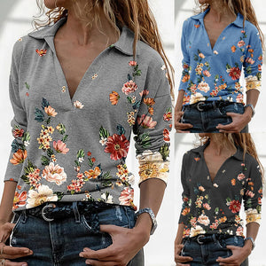 Fashion Flowers Print Blouse Shirt V-Neck Bottoming Tops Casual Autumn Winter Ladies Female Women Long Sleeve Blusas Pullover