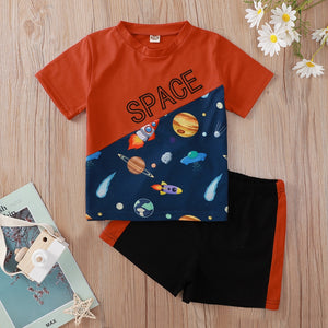 Summer Children Sets Short Sleeve Patchwork Letter Cartoon Space T-shirt Black Shorts Cute Girls Boys Clothes Set 9M-6T