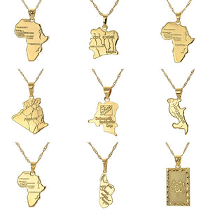 Africa Congo Algeria Map Pendant Necklace For Women Men Gold Color Copper Chain Necklaces Hiphop Style