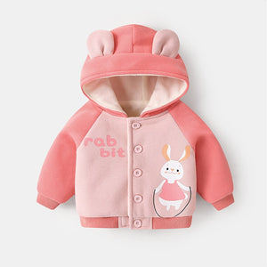 Autumn Winter Kid Plus Velvet Padded Jacket Baby Hooded Cartoon Print Outer Clothes (Pink)