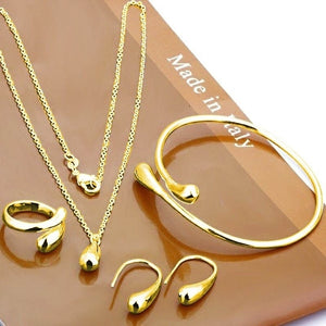 Exquisite Eardrop Shape Pendant Neckalce Water Drop Jewelry Set Hand Chain Bracelet Necklaces Ring Hook Oval Earings for Women