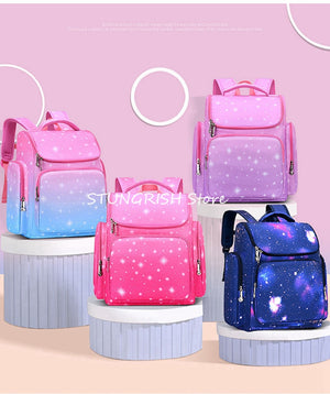 New Bag For School Waterproof Cute Printng Primary Childrens' Backapck For Girls 10 Years Old Starry Sky Kids Bookbags