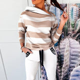 Casual Stripe Camouflage Two Piece Sets For Women Autumn Slash Collar Zip Hooded