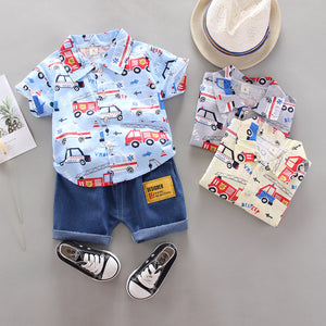 Newborn Baby Boy Fashion Clothes Set Summer Kids Girl Cartoon Full Print T-shirt+Shorts Infant Casual Clothing Toddler Sets