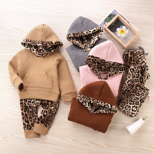 3-12 Months Baby Clothes Set Hooded Sweatshirt Print Leopard Pants Fashion Solid Cotton Winter Autumn Warm Clothes for Kid Girls