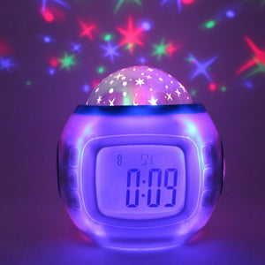 New Music Starry Sky Creative Natural Sound Alarm Clock Colorful Atmosphere Projection Clock Lazy Sleepy Electronic Clock