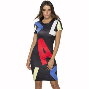 Summer Women Short Sleeve Letter Printed Bodycon Mini Dress Fashion Ladies Casual