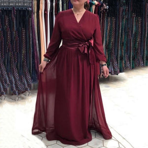 Simple Design Elegant Dress For Women Club Party Clothes Spring Long Sleeve Plus Size Chiffon Ladies Maxi Dress