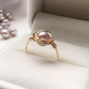 Natural Freshwater Pearl Rings Gold Filled Jewelry 3MM Pearl Knuckle Mujer Boho Bague Femme Minimalism Anelli Women Ring