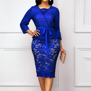 Plus Size Elegant Dresses Women 3/4 Sleeve Lace Patchwork Belt Bodycon Party Dresses