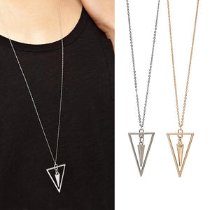 Simple Metal Hanging Triangle Pendant Necklace Long Sweater Chain Minimalist Jewelry For Women Collana Kolye Bijoux Collar Mujer