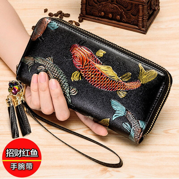 New lady's wallet women's long leather handbag fashion  leather zipper wallet