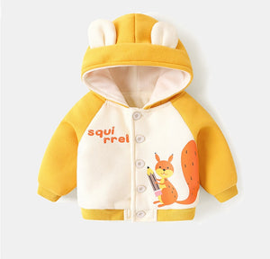 Autumn Winter Kid Plus Velvet Padded Jacket Baby Hooded Cartoon Print Outer Clothes (Yellow)