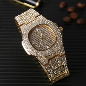 Luxury Gold Silver Color Men Watch & Necklace & Pendant & Bracelet & Ring Combo Set Ice Out Cuban Necklace Chain Hip Hop For Men