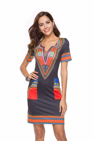 Print Fashion Office Dashiki Dress Short Sleeve Summer Sexy V Neck Pocket Slim