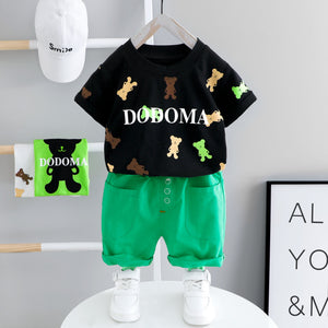 Baby Boy Summer Clothes Set Toddler Kid Clothes Cartoon Printed Bear Short Sleeve T-shirt + Pants Boy Set 1-4 Years Old