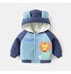 Autumn Winter Kid Plus Velvet Padded Jacket Baby Hooded Cartoon Print Outer Clothes (Blue)