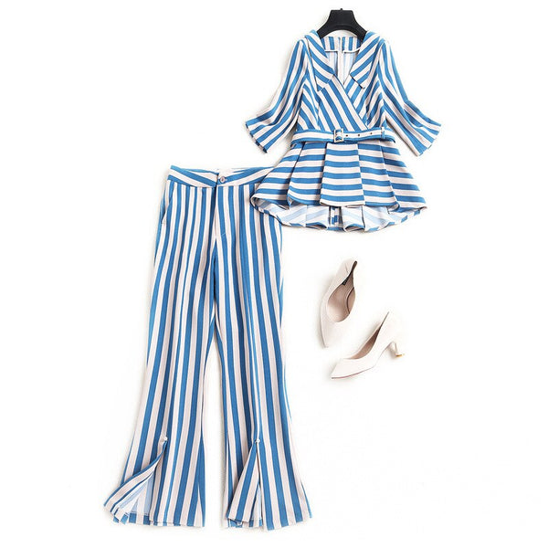 spring summer fashion striped women pants suit designer ruffles belted tops blouse + flare pants two piece sets blue yellow