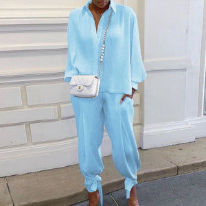 Female Blouses Trousers Sets Women Sets White Crumpled Long-Sleeved Shirt High Waist Pants Suits Outfit