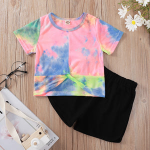 Summer Children Sets Short Sleeve O Neck Pink Tie-dye T-shirt Black Solid Shorts Cute Girls Boys Clothes Set 3-10T