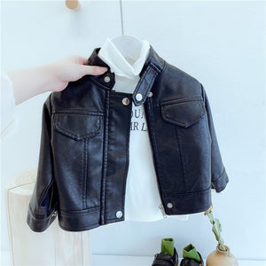 1-8T Toddler Kid Baby Boys Girls Winter Clothes Warm PU Coats PU biker Jacket (BLACK)