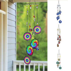 Metal Piece Wind Chime Colorful Printed Windchime with Various Pattern Fengshui Blessing Decor for Outdoor Window Garden D1