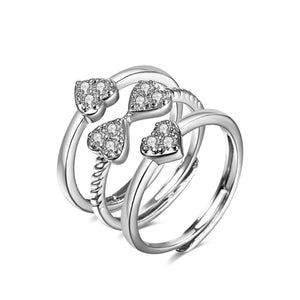 Women's Love Heart Four-Leaf Lucky Clover Rhinestone 3 in 1 Ring Lucky Jewelry For Women Gift
