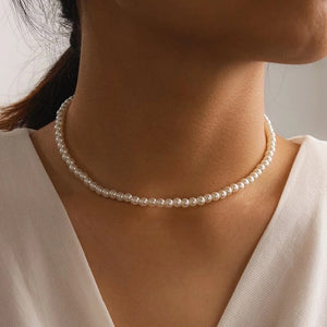 NEW Simple Elegant White Imitation Pearl Choker Necklace Small Round Pearl Wedding Necklace For Women Minimalist Jewelry Chocker